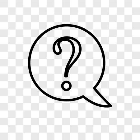 Question vector icon isolated on transparent background, Question logo concept