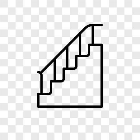 Icône de vecteur d'escalier isolé sur fond transparent, concept logo escalier Logo