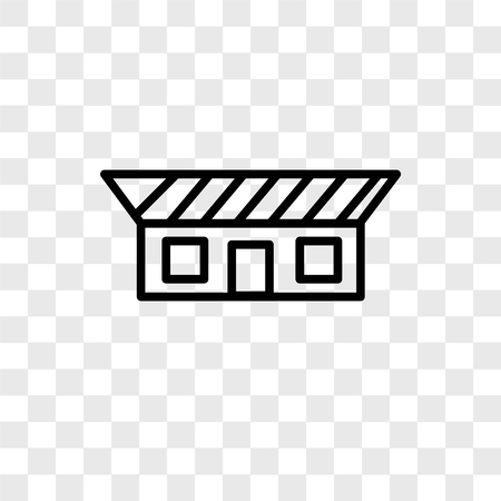 Bungalow vector icon isolated on transparent background, Bungalow logo concept
