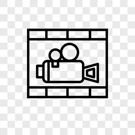 Film strip vector icon isolated on transparent background, Film strip logo concept Illustration
