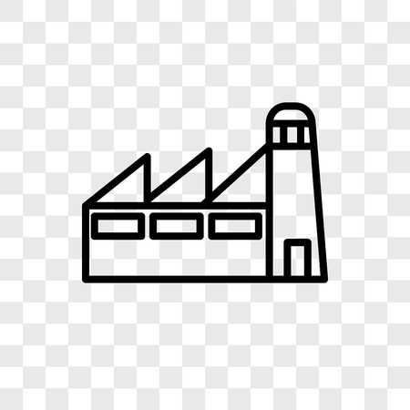 Factory vector icon isolated on transparent background, Factory logo concept Illustration