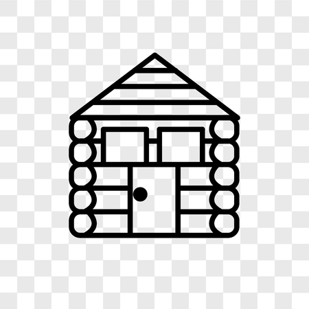 Cabin vector icon isolated on transparent background, Cabin logo concept Stock Illustratie