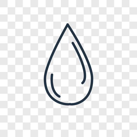 Icône de vecteur de goutte d'eau isolé sur fond transparent, concept logo goutte d'eau