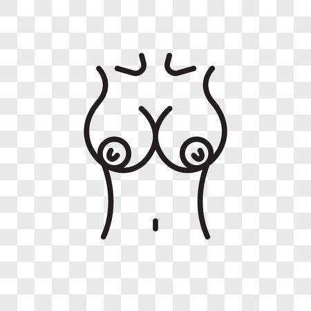 Icona di vettore del seno isolato su sfondo trasparente, concetto di marchio del seno