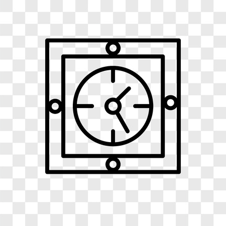 Wall clock vector icon isolated on transparent background, Wall clock logo concept Çizim