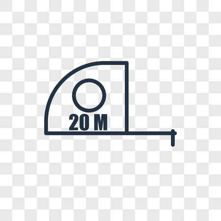 Measuring tape vector icon isolated on transparent background, Measuring tape logo concept