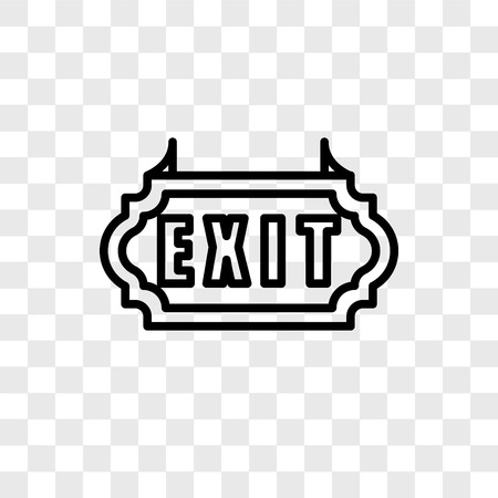 Exit vector icon isolated on transparent background, Exit logo concept Çizim