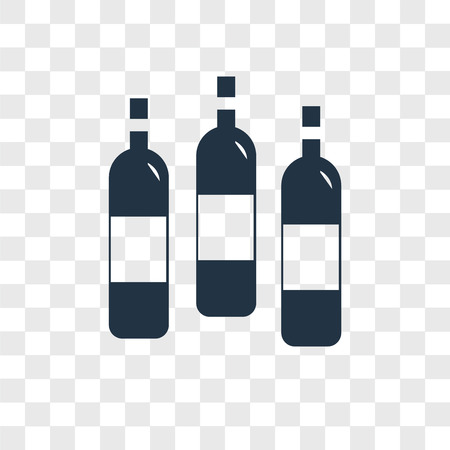 Wine bottle vector icon isolated on transparent background, Wine bottle logo concept