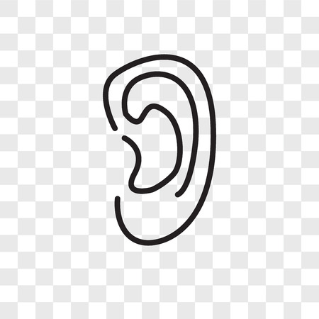 Ear vector icon isolated on transparent background, Ear logo concept Çizim