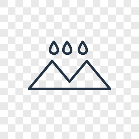 Icono de vector de paisaje lluvioso aislado sobre fondo transparente, concepto de logo de paisaje lluvioso