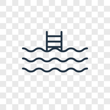 Swimming pool vector icon isolated on transparent background, Swimming pool logo concept Illustration