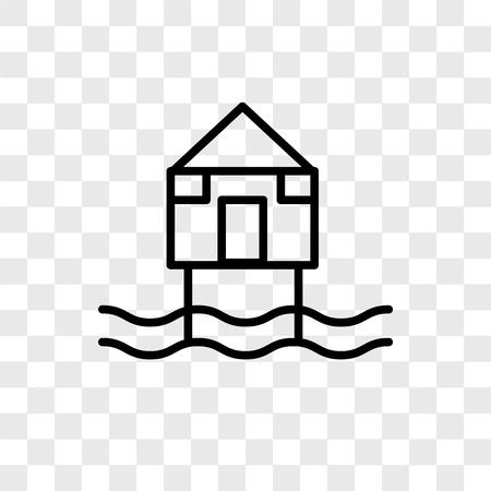 Beach Hut vector icon isolated on transparent background, Beach Hut logo concept Illustration