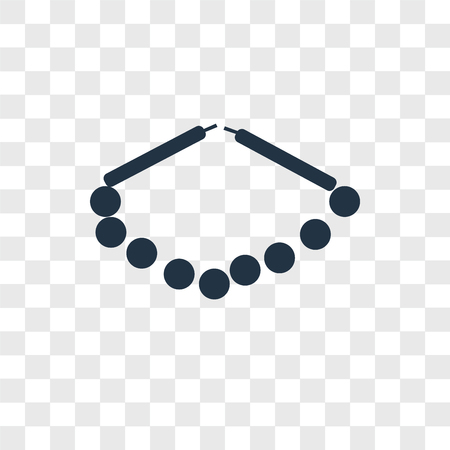 Pearl necklace vector icon isolated on transparent background, Pearl necklace logo concept