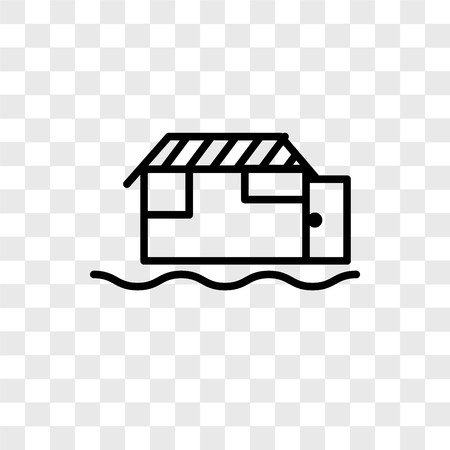 Houseboat vector icon isolated on transparent background, Houseboat logo concept Illustration