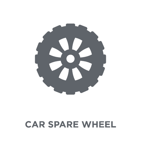 car spare wheel icon. car spare wheel design concept from Car parts collection. Simple element vector illustration on white background. 일러스트