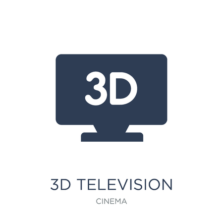 3D Television icon. Trendy flat vector 3D Television icon on white background from Cinema collection, vector illustration can be use for web and mobile