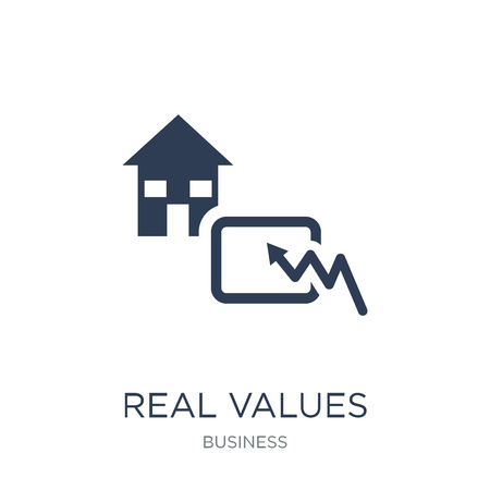Real values icon. Trendy flat vector Real values icon on white background from business collection, vector illustration can be use for web and mobile