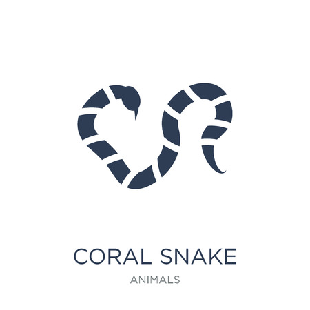 coral snake icon. Trendy flat vector coral snake icon on white background from animals collection, vector illustration can be use for web and mobile, eps10 Illustration