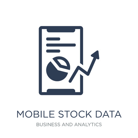 Mobile stock data icon. Trendy flat vector Mobile stock data icon on white background from Business and analytics collection, vector illustration can be use for web and mobile, eps10