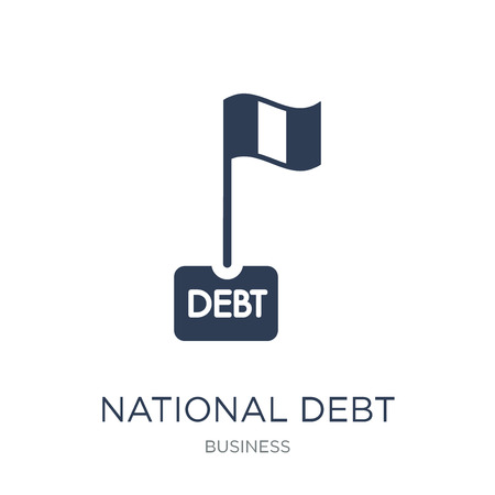 National debt icon. Trendy flat vector National debt icon on white background from Business collection, vector illustration can be use for web and mobile, eps10