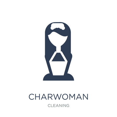 Charwoman icon. Trendy flat vector Charwoman icon on white background from Cleaning collection, vector illustration can be use for web and mobile, eps10 Zdjęcie Seryjne - 111876259