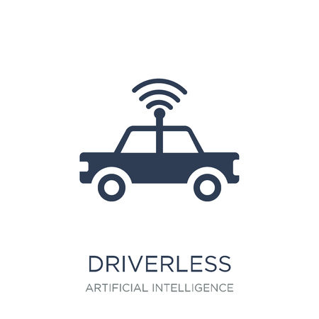 Driverless autonomous car icon. Trendy flat vector Driverless autonomous car icon on white background from Artificial Intelligence, Future Technology collection, vector illustration can be use for web and mobile
