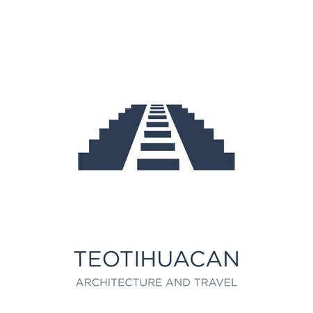 Icono de Teotihuacan. Icono de Teotihuacan de moda vector plano sobre fondo blanco de colección arquitectura y viajes, Ilustración de vectores se puede utilizar para web y móvil, eps10