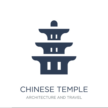 Chinese Temple icon. Trendy flat vector Chinese Temple icon on white background from Architecture and Travel collection, vector illustration can be use for web and mobile, eps10  イラスト・ベクター素材