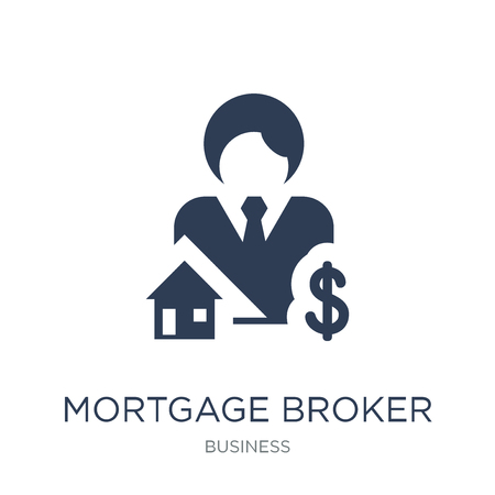 Mortgage broker icon. Trendy flat vector Mortgage broker icon on white background from Business collection, vector illustration can be use for web and mobile, eps10 Stock Illustratie