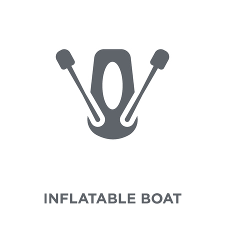Inflatable boat icon. Inflatable boat design concept from Camping collection. Simple element vector illustration on white background.