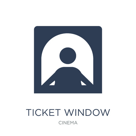 Ticket window icon. Trendy flat vector Ticket window icon on white background from Cinema collection, vector illustration can be use for web and mobile, eps10  イラスト・ベクター素材