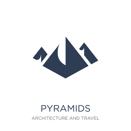 Pyramids icon. Trendy flat vector Pyramids icon on white background from Architecture and Travel collection, vector illustration can be use for web and mobile, eps10  イラスト・ベクター素材