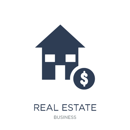 Real estate investment trusts icon. Trendy flat vector Real estate investment trusts icon on white background from business collection, vector illustration can be use for web and mobile, eps10 Stock Vector - 111918697