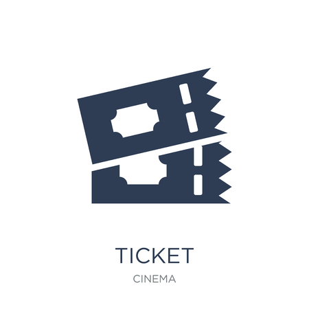 Ticket icon. Trendy flat vector Ticket icon on white background from Cinema collection, vector illustration can be use for web and mobile, eps10 Stock Vector - 111922235