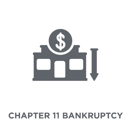 Kapitel 11 Insolvenzsymbol. Kapitel 11 Konkursgestaltungskonzept aus Kapitel 11 Konkursinkasso. Einfache Elementvektorillustration auf weißem Hintergrund. Vektorgrafik