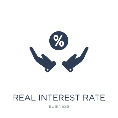 Real interest rate icon. Trendy flat vector Real interest rate icon on white background from business collection, vector illustration can be use for web and mobile, eps10