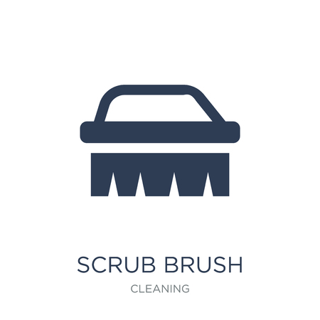 scrub brush icon. Trendy flat vector scrub brush icon on white background from Cleaning collection, vector illustration can be use for web and mobile, eps10 Ilustração