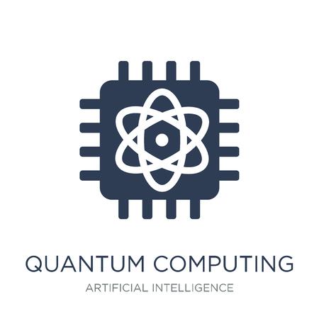 Icône de l'informatique quantique. Icône de l'informatique quantique vecteur plat sur fond blanc de l'intelligence artificielle, collection Future Technology, illustration vectorielle peut être utilisé pour le web et mobile, eps10