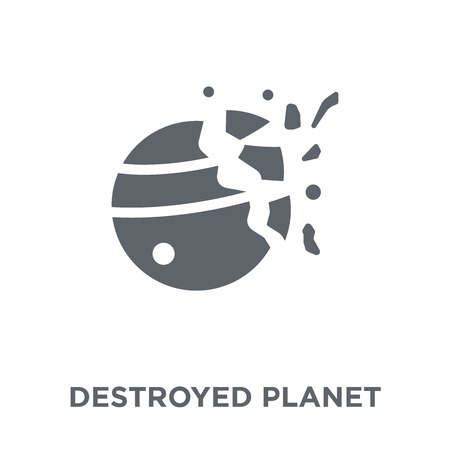 Destroyed planet icon. Destroyed planet design concept from Astronomy collection. Simple element vector illustration on white background. Ilustração