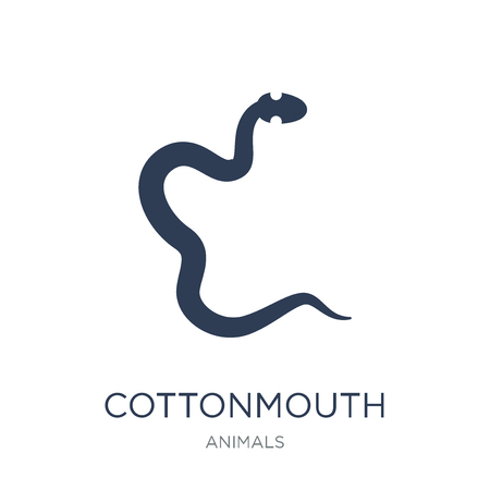 cottonmouth icon. Trendy flat vector cottonmouth icon on white background from animals collection, vector illustration can be use for web and mobile, eps10
