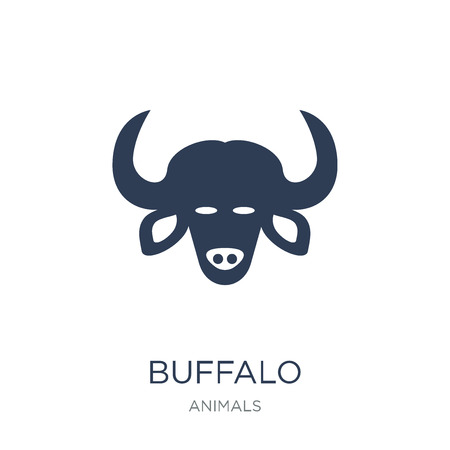 Buffalo icon. Trendy flat vector Buffalo icon on white background from animals collection, vector illustration can be use for web and mobile, eps10 版權商用圖片 - 111877415