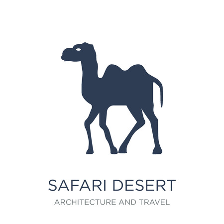 safari desert icon. Trendy flat vector safari desert icon on white background from Architecture and Travel collection, vector illustration can be use for web and mobile, eps10