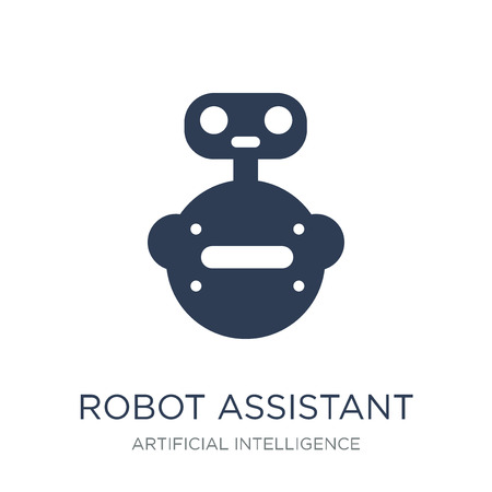 Robot assistant icon. Trendy flat vector Robot assistant icon on white background from Artificial Intelligence, Future Technology collection, vector illustration can be use for web and mobile, eps10 Banque d'images - 111923313