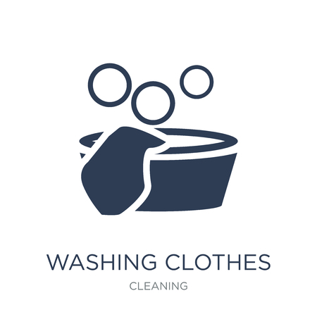 Washing clothes icon. Trendy flat vector Washing clothes icon on white background from Cleaning collection, vector illustration can be use for web and mobile, eps10