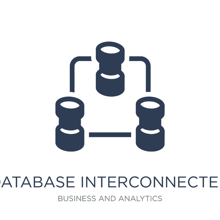 Database Interconnected icon. Trendy flat vector Database Interconnected icon on white background from Business and analytics collection, vector illustration can be use for web and mobile, eps10