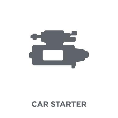 Autostarter-Symbol. Autostarter-Designkonzept aus der Autoteilesammlung. Einfache Elementvektorillustration auf weißem Hintergrund.