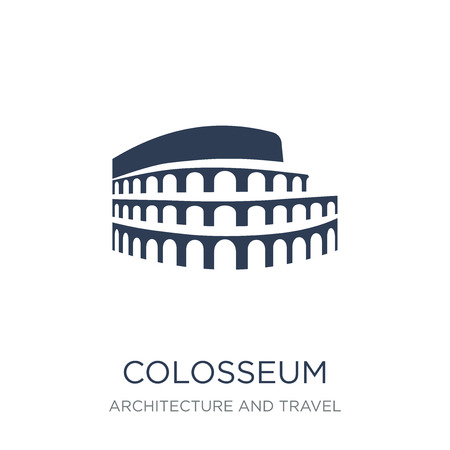 Colosseum icon. Trendy flat vector Colosseum icon on white background from Architecture and Travel collection, vector illustration can be use for web and mobile, eps10  イラスト・ベクター素材