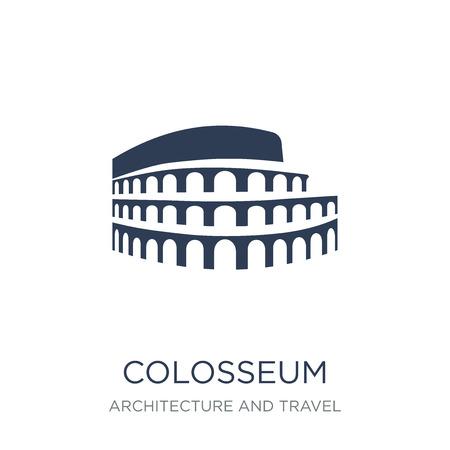 Icona del Colosseo. Icona di Colosseo piatto vettoriale su priorità bassa bianca da collezione di architettura e viaggi, illustrazione vettoriale può essere utilizzato per il web e mobile, eps10