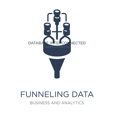 Funneling Data icon. Trendy flat vector Funneling Data icon on white background from Business and analytics collection, vector illustration can be use for web and mobile, eps10