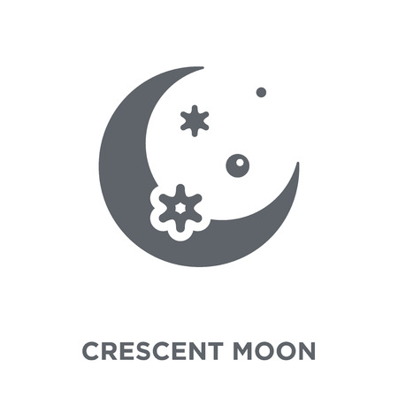 Crescent moon icon. Crescent moon design concept from Astronomy collection. Simple element vector illustration on white background.